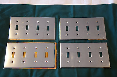 4 Vintage CHROME 4 Gang Toggle Switch Plate Covers all need TLC
