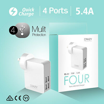 Genuine Crazy 4 Ports USB AC Wall Charger Adapter  2.4Amp for iPhone Galaxy
