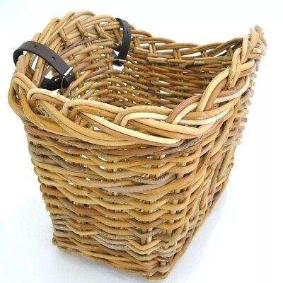 Cane Bicycle Basket Wicker with Leather Straps