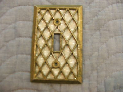 vintage antique brass pearl diamond single toggle switch cover american tack euc