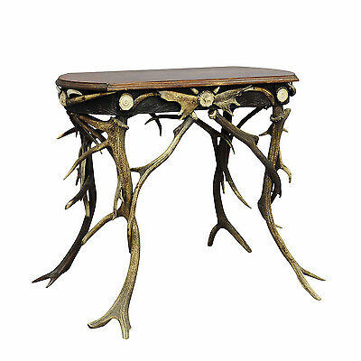 a small antler side table with great decorations ca. 1890