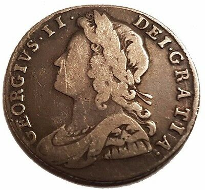 King George II 1737 Silver Shilling Roses & Plumes