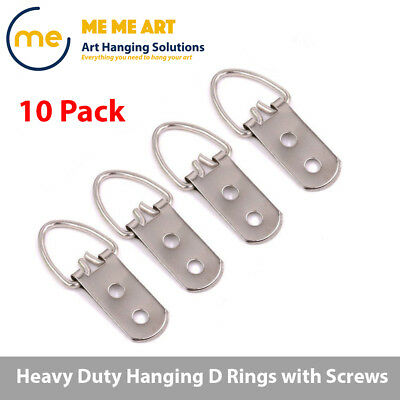 10pcs + Screws Heavy Duty Hanging D Ring Picture Frame Hangers Double Hole