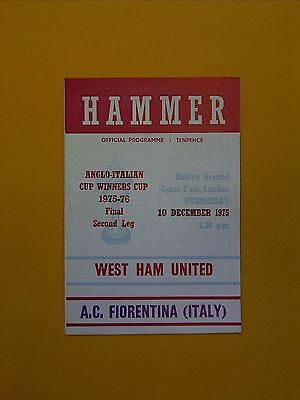 Anglo-Italian Cup Winners Cup Final - West Ham v A.C. Fiorentina - 10th Dec 1975