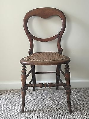 Antique Rose Wood Chair With Cane Seat, Ballon Back And Carved Legs