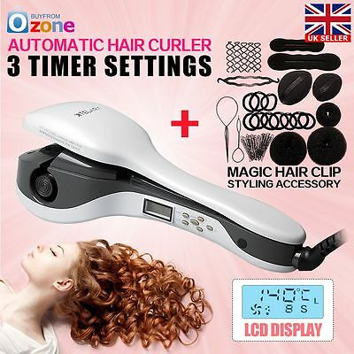 Hair Curler Curling iron Roller Styling PRO Perfect LCD Automatic Anion UK Plug