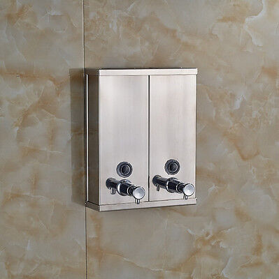 Wall mounted Stainless Steel Bath & Kitchen Sink Liquid Double Soap Dispenser