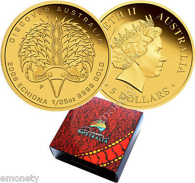 2009 Discover Australia ECHIDNA 1/25 oz GOLD Coin Proof BOX $5 AUD + FREE GIFT