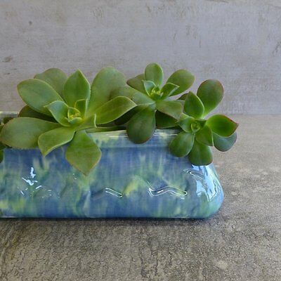 Vintage Pates Pottery Trough Vase or Small Planter Australian Pottery Blue Green