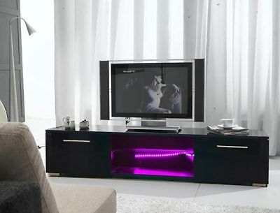 FoxHunter Modern High Gloss Matt TV Cabinet Unit Stand Black RGB LED Light TVC12
