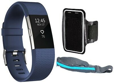 Fitbit Charge 2 HR Fitness Wristband Large Blue Silver + Sport Belt + Armband