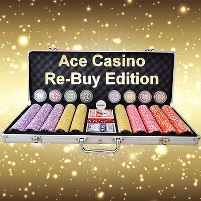 500 Piece Poker Chip Set - Ace Casino Numbered Chips - RE-BUY EDITION