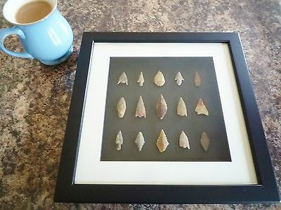 Neolithic Arrowheads in 3D Picture Frame, Authentic Artifacts 4000BC (Q006)