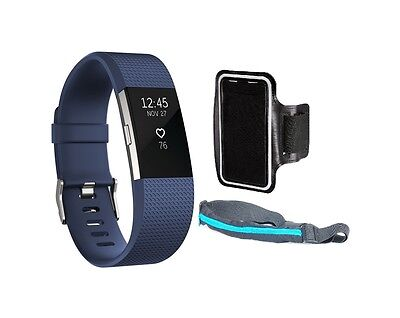Fitbit Charge 2 HR Fitness Wristband Small Blue Silver + Sport belt + Armband