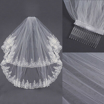 2T White or Ivory Wedding Bridal Beaded Laced Edge Veil Elbow Length With Comb