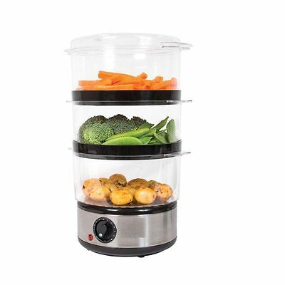3 Layer Stainless Steel Compact Food Steamer with Rice Bowl, 6 Litre