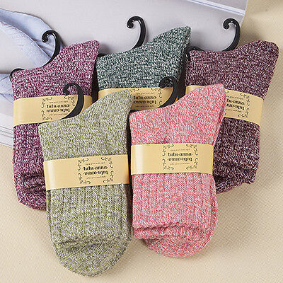 5Pairs Women Wool Cashmere Thick Warm Soft Solid Casual Sports Socks Winter HYSG
