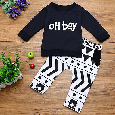 2pcs Newborn Infant Baby Boy Clothes Printed T-shirt Tops+Pants Outfits Set Gift