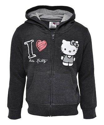 NEW Girls Dark Grey Hello Kitty - I Love Kitty Zip Up Hoody Top Ages 4-10 years