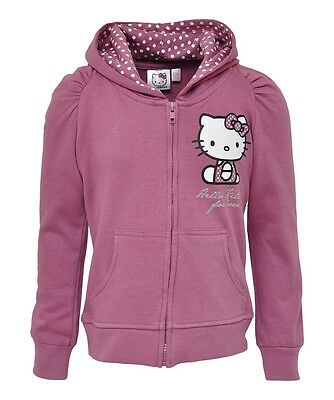 NEW Girls Lilac Hello Kitty - I Love Kitty Zip Up Hoody Top Ages 4-10 years