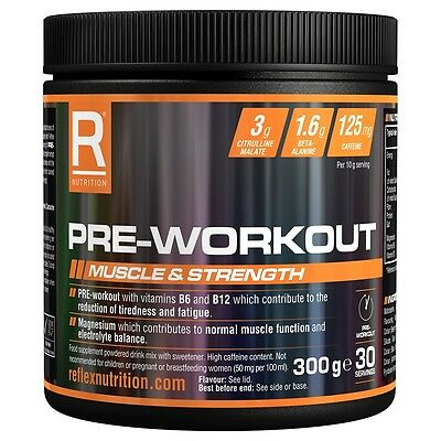Reflex Nutrition New Pre Workout x 300g Energy Gym With Aminos Bcaa Fruit Punch