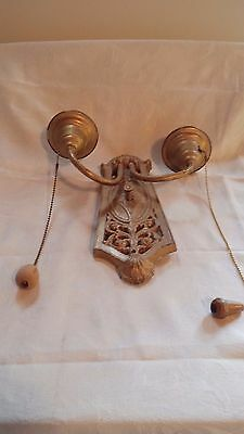 Antique Brass Two Light Sconce From Thousand Islands NY USA For Restoration