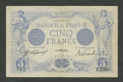 FRANCE - 5 francs  1913  P70  Very Fine TTB  ( Banknotes )