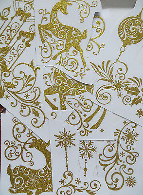 Christmas Diy Window Gel Cling Glitter Sticky Stickers Reusable Xmas Decorations