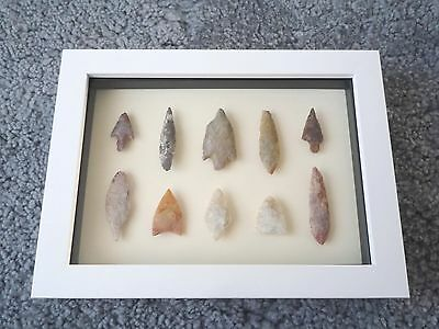 Neolithic Arrowheads in 3D Picture Frame, Authentic Artifacts 4000BC (0171)