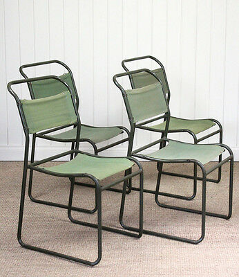 Set of 4 Vintage Industrial Cox Army Stacking Canvas Chairs Military (#2)