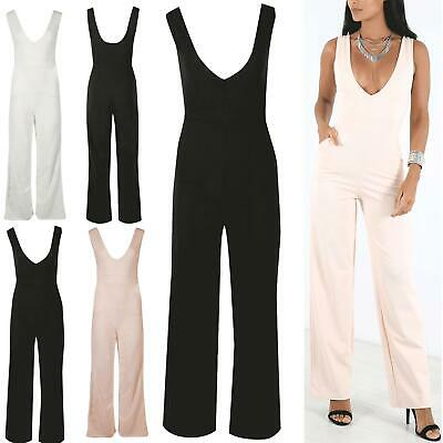 Womens Sleeveless Front Low Neck Side Pockets Low Back Palazzo Playsuit Jumpsuit