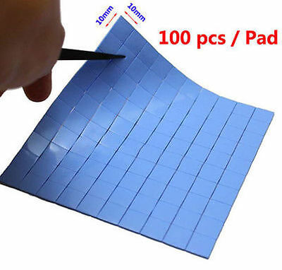 100pcs 10mm x 10mm x 1mm Blue Heatsink Cooling Thermal Conductive Silicone Pad