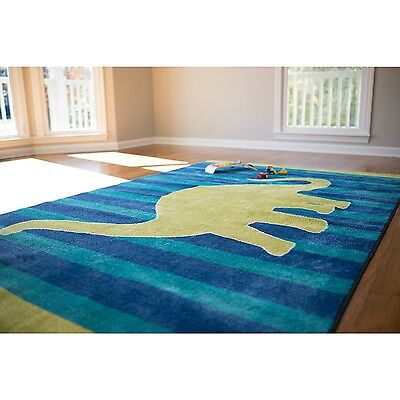 Rugs For Kids Rooms Decor Boys Girls Room Blue Green Rug Stain Resistant Dinosau