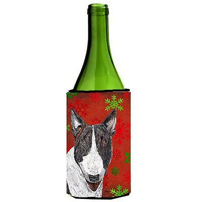 Bull Terrier Red Snowflake Christmas Wine bottle sleeve Hugger 24 oz.