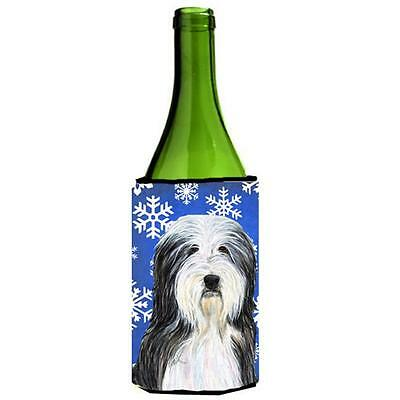 Bearded Collie Winter Snowflakes Holiday Wine bottle sleeve Hugger 24 oz.
