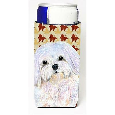 Maltese Fall Leaves Portrait Michelob Ultra bottle sleeve for Slim Can