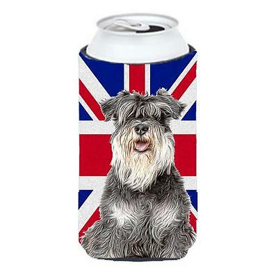 Schnauzer with English Union Jack British Flag Tall Boy bottle sleeve Hugger
