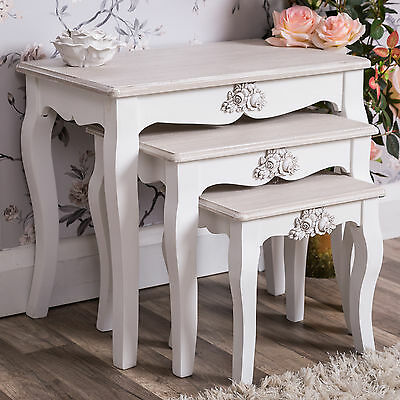 White Nest of Tables Ornate Country Furniture Rose Shabby Vintage Chic Home