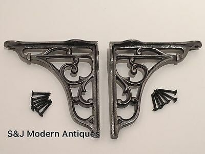 Antique Vintage Shelf Bracket Cast Iron Metal Victorian Design Heavy Duty 5 Inch • £13.95
