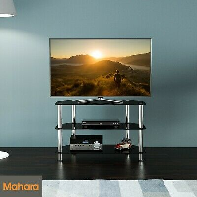 """Black Gloss Glass TV Stand 80cm width, Suitable For LCD LED TVs 20 32 37 40"""""""