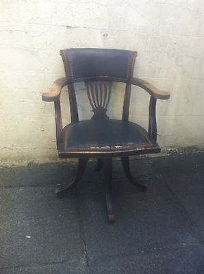 Antique Mahogany & Leather Desk Captian's Chair  Swivel  Desk Office Armchair