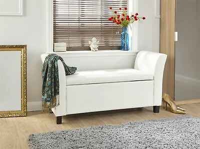 Verona Window Seat Ottoman Large Faux Leather Footstool Storage Box Bench White