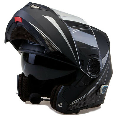 Viper Rsv151 Bl+ Bluetooth Visor Plegable Touring Casco De Moto Negro Mate Flash