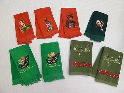 Lot 8 Misc. Fingertip / Hand Towels Christmas Holiday