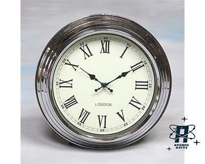 Retro Vintage Small London Style Wall Clock Chrome With Cream Face