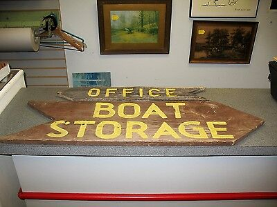 Antique Original 3' Hand Painted Wood - Boat Storage & Office Signs Upstate N.Y.