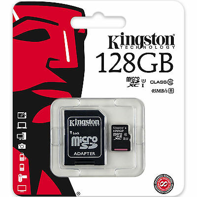 KINGSTON 128GB Class 10 U1 MicroSDXC Speicherkarte mit SD Adapter Neu
