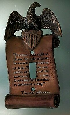 Freedom Vintage Brass Plate Eagle Thomas Jefferson Single Light Switch Cover