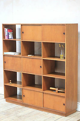 Antique Solid Oak Mid Century Utilitarian Pigeon Hole Shelving unit/ Bookcase