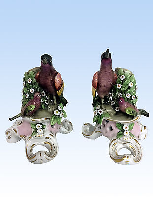 Pair Of Right And Left Porcelain Bird Figurines - Chelsea Gold Anchor Mark